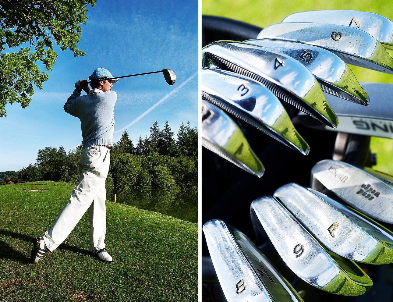 image d'un joueur de golf en plein swing sur le parcours