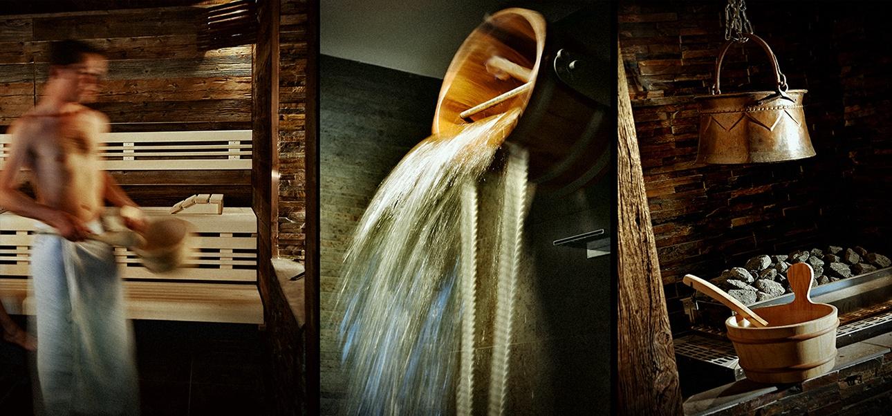 photos intérieures d'un sauna