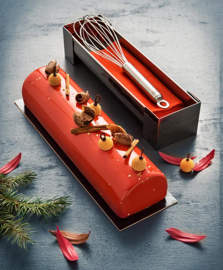 photo culinaire d'une bûche de Noël