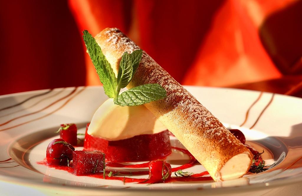 photo culinaire sur un dessert glacé