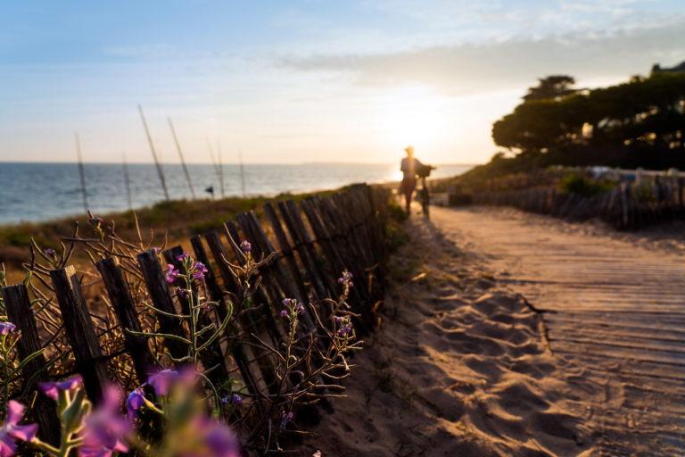 image du soleil levant sur un chemin côtier