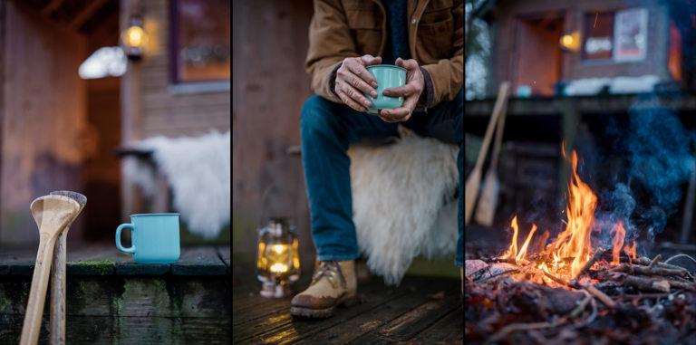 Ambiance cabane dans les bois autour du feu